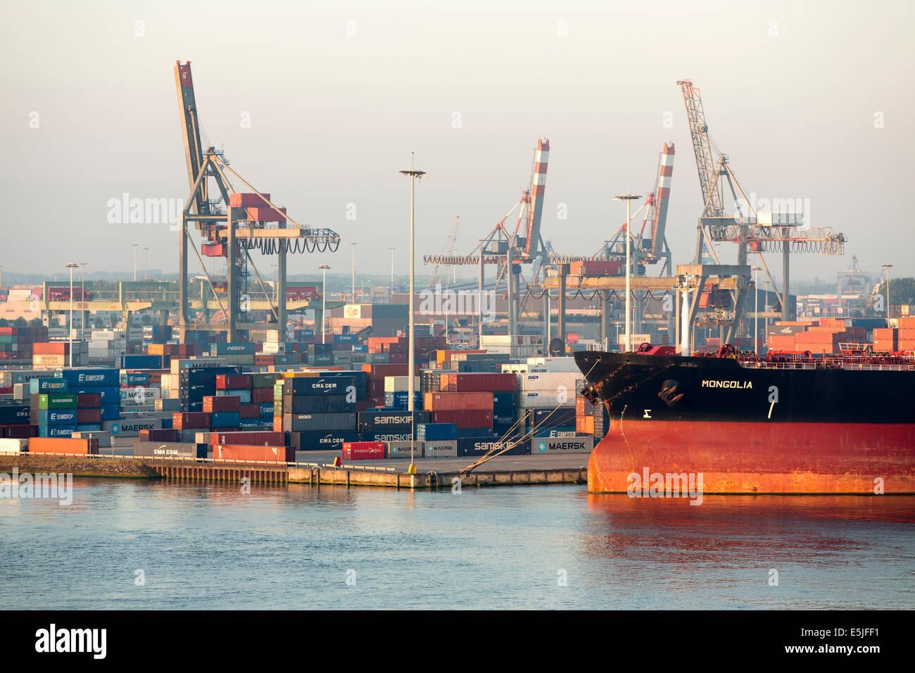 Países Bajos, Rotterdam, el puerto de Rotterdam. Puerto o puerto de contenedores Imagen De Stock