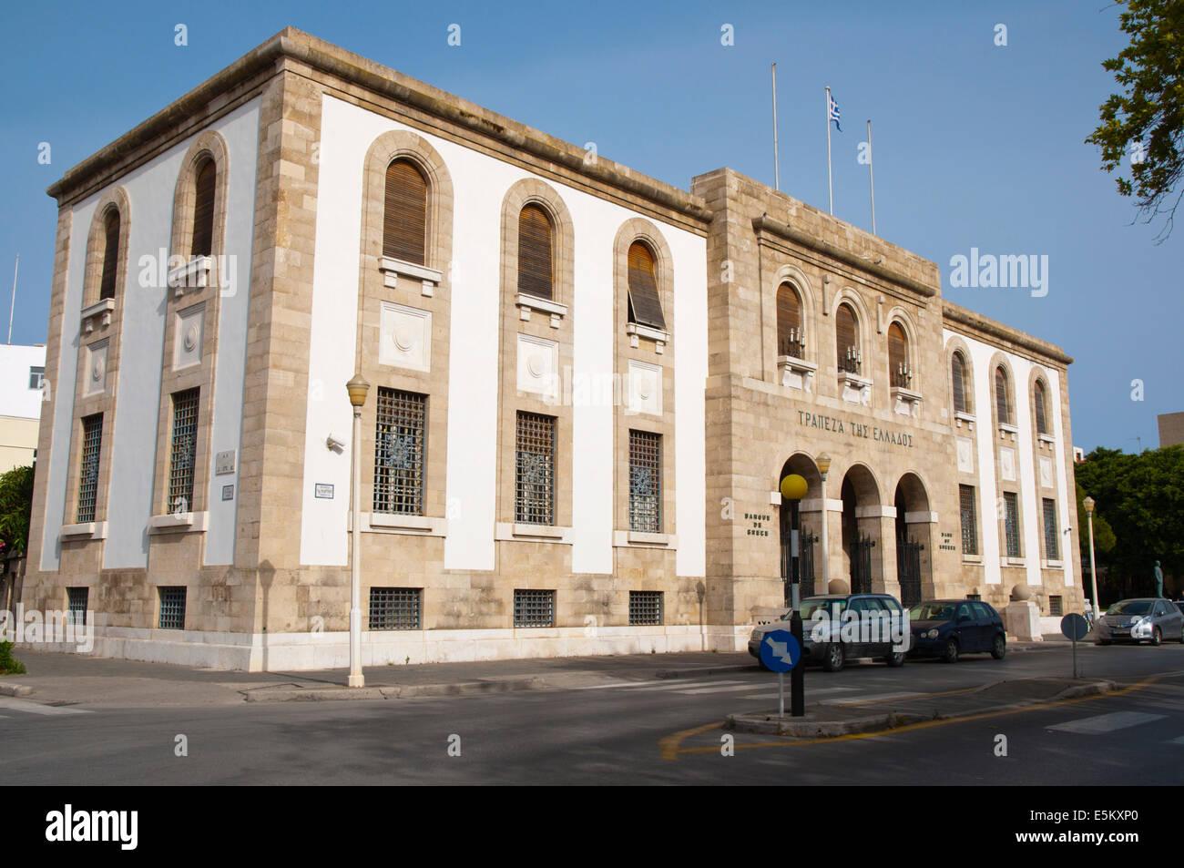 Banco de Grecia, la arquitectura de la época fascista, Neohori, la ciudad nueva, la ciudad de Rodas, la isla Imagen De Stock