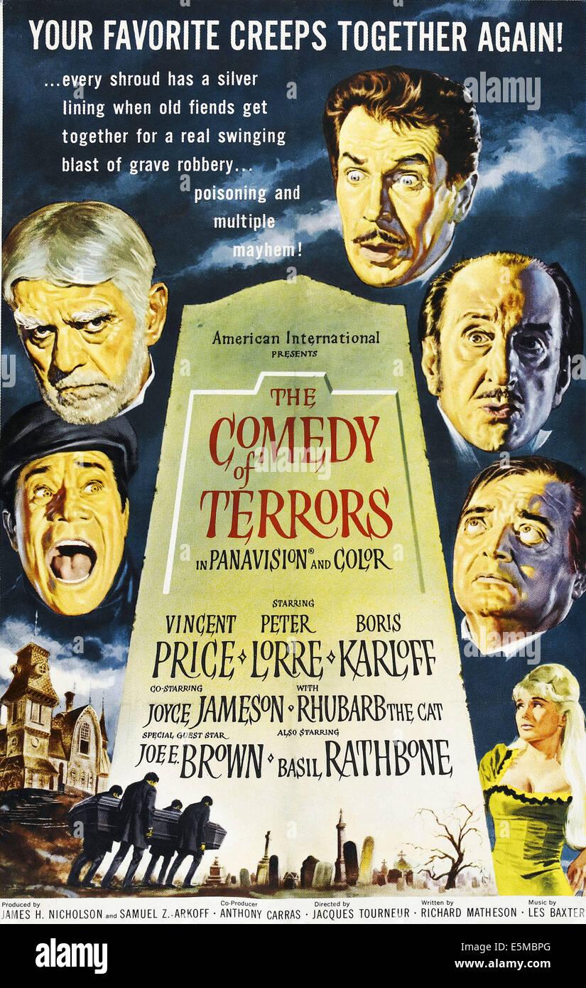 La comedia de terror, en el sentido de las agujas del reloj desde mediados de izquierda: Joe E. Brown, Boris Karloff, Vincent Price, Basil Rathbone, Peter Lorre, Joyce Foto de stock