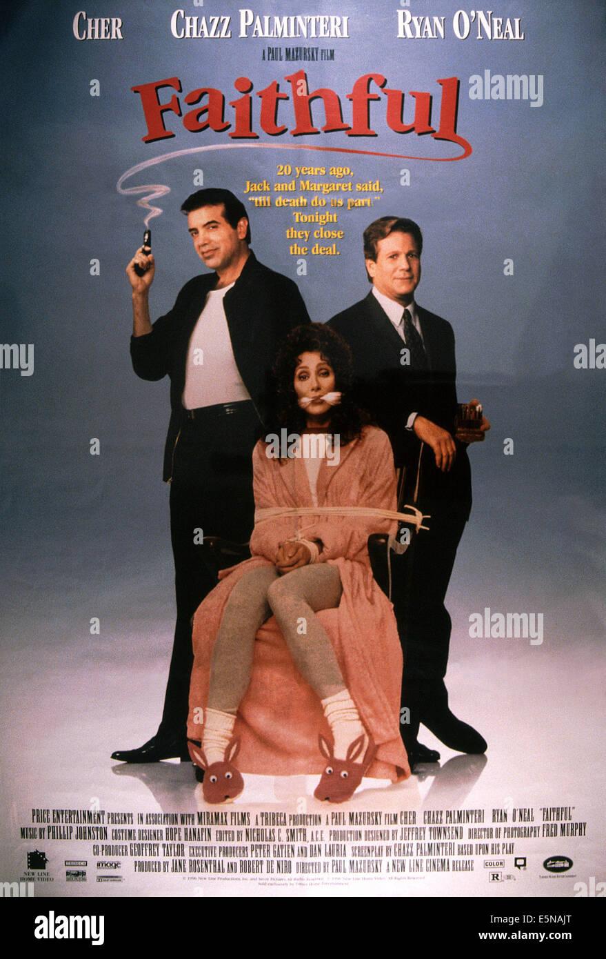 Los fieles, desde la izquierda: Chazz Palminteri, Cher, Ryan O'Neal, 1996 © Nueva línea cortesia/Everett Imagen De Stock