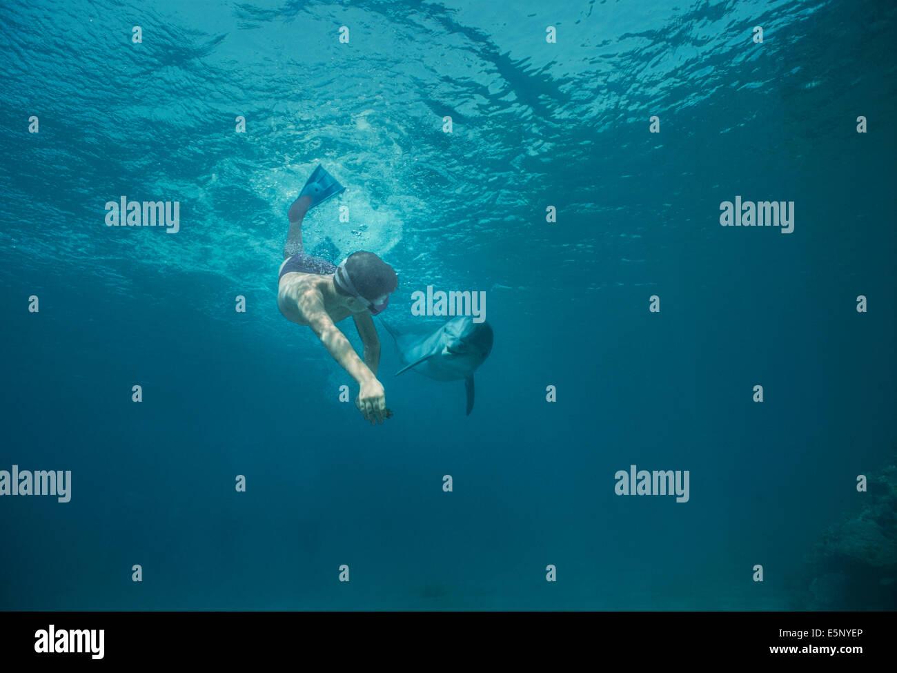 Muchacho de doce años interactúa con los niños el delfín mular (Tursiops truncatus). Dolphin reef, Eilat, Israel, Mar Rojo. Foto de stock