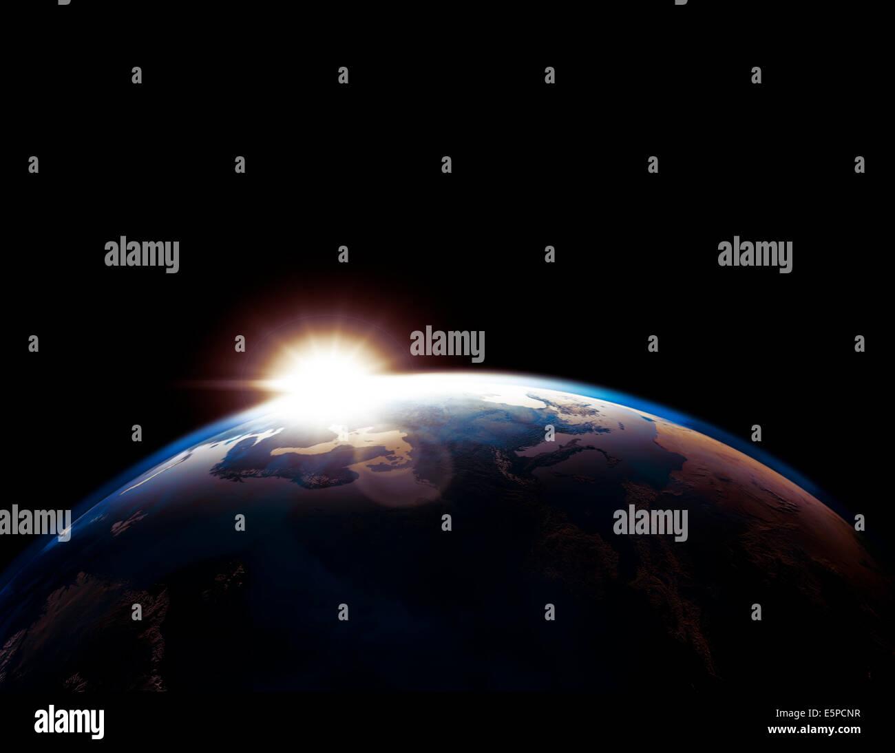 Esquema de globo terráqueo iluminado por el sol naciente aislado sobre fondo negro Imagen De Stock
