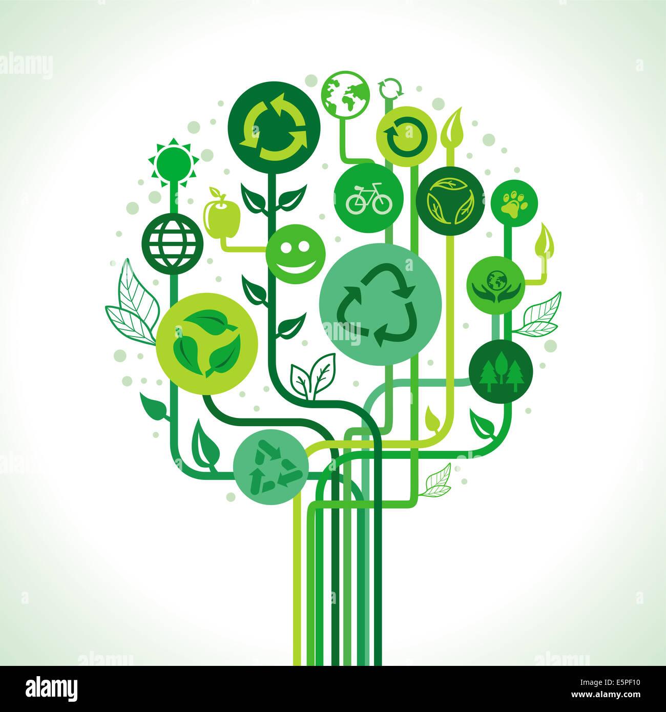 Concepto de ecología - abstracto árbol verde con signos y símbolos de reciclaje Imagen De Stock