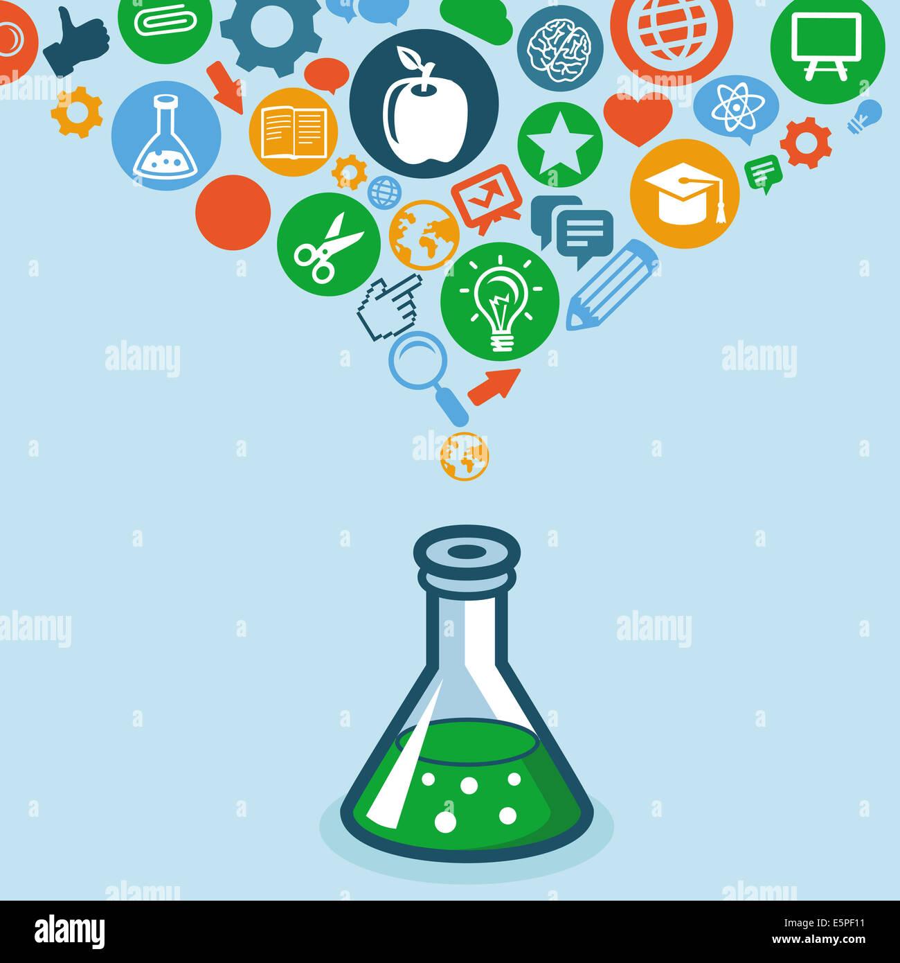 Educación y Ciencia concepto - Iconos y señales Imagen De Stock
