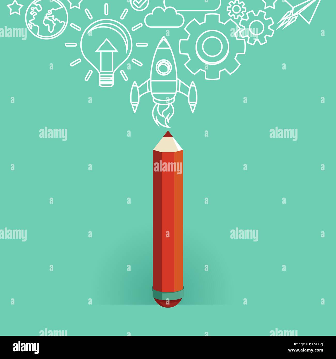 Concepto de diseño gráfico - Iconos de estilo plano - Inicio Imagen De Stock