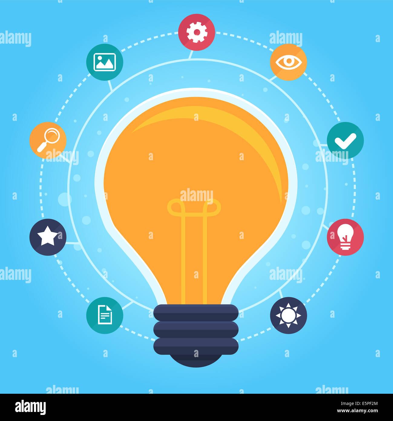 La idea creativa de infografía - elementos de diseño en estilo plano - proceso de diseño gráfico Imagen De Stock