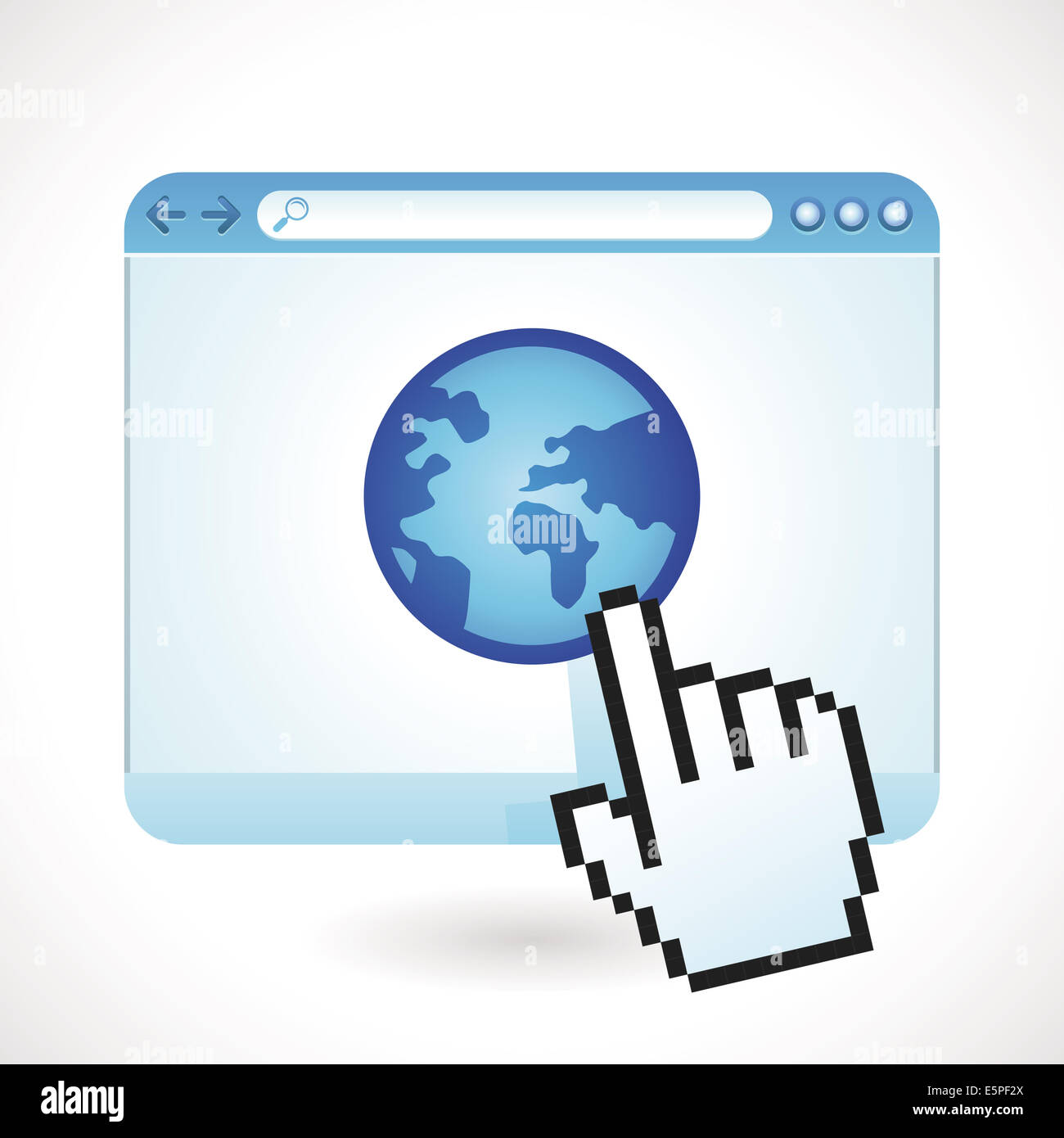Concepto de Internet - ventana de navegador con icono de globo Imagen De Stock
