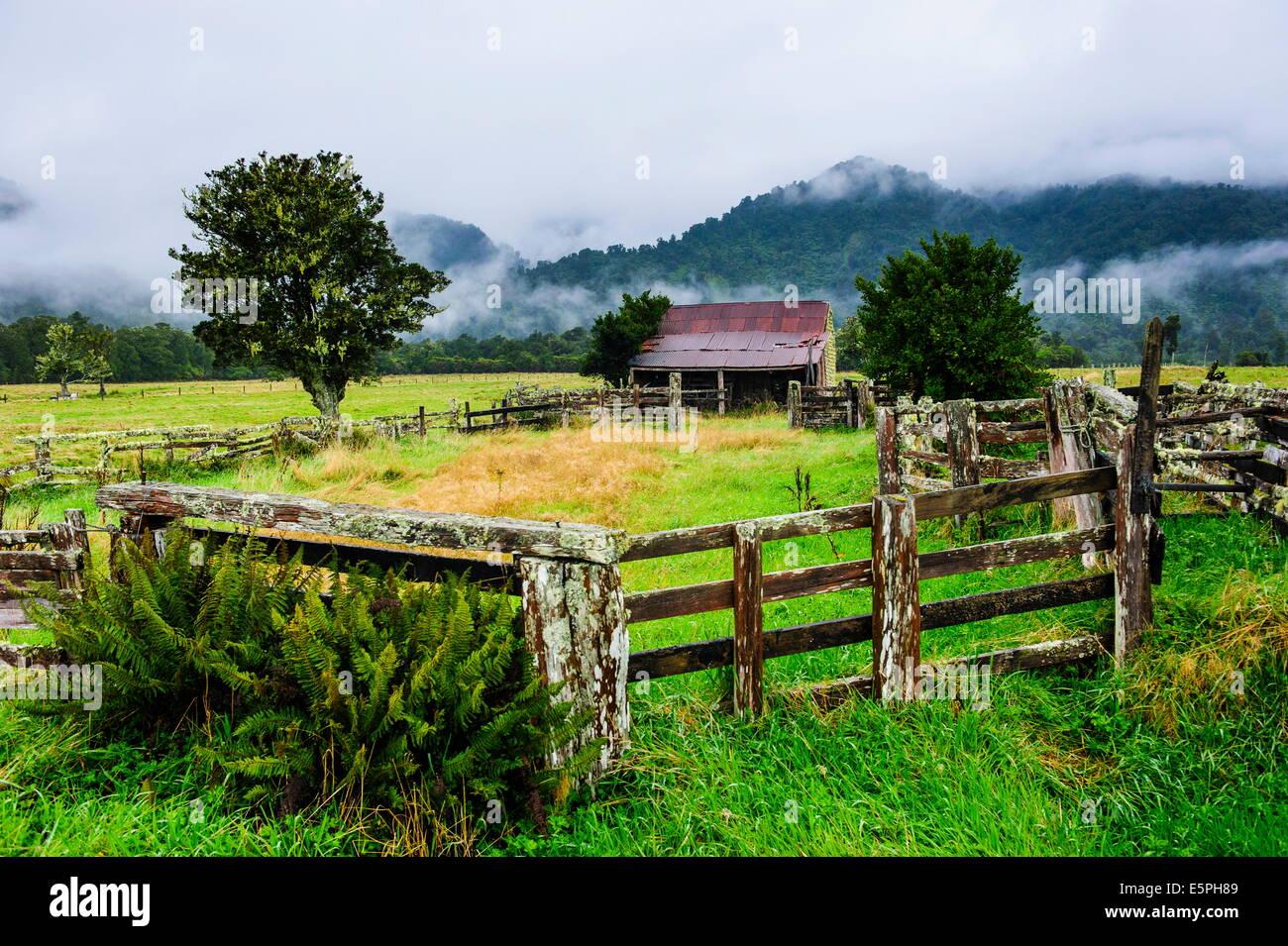 Antigua Granja en una tenue atmósfera, Costa oeste alrededor de Haast, Isla del Sur, Nueva Zelanda, el Pacífico Imagen De Stock
