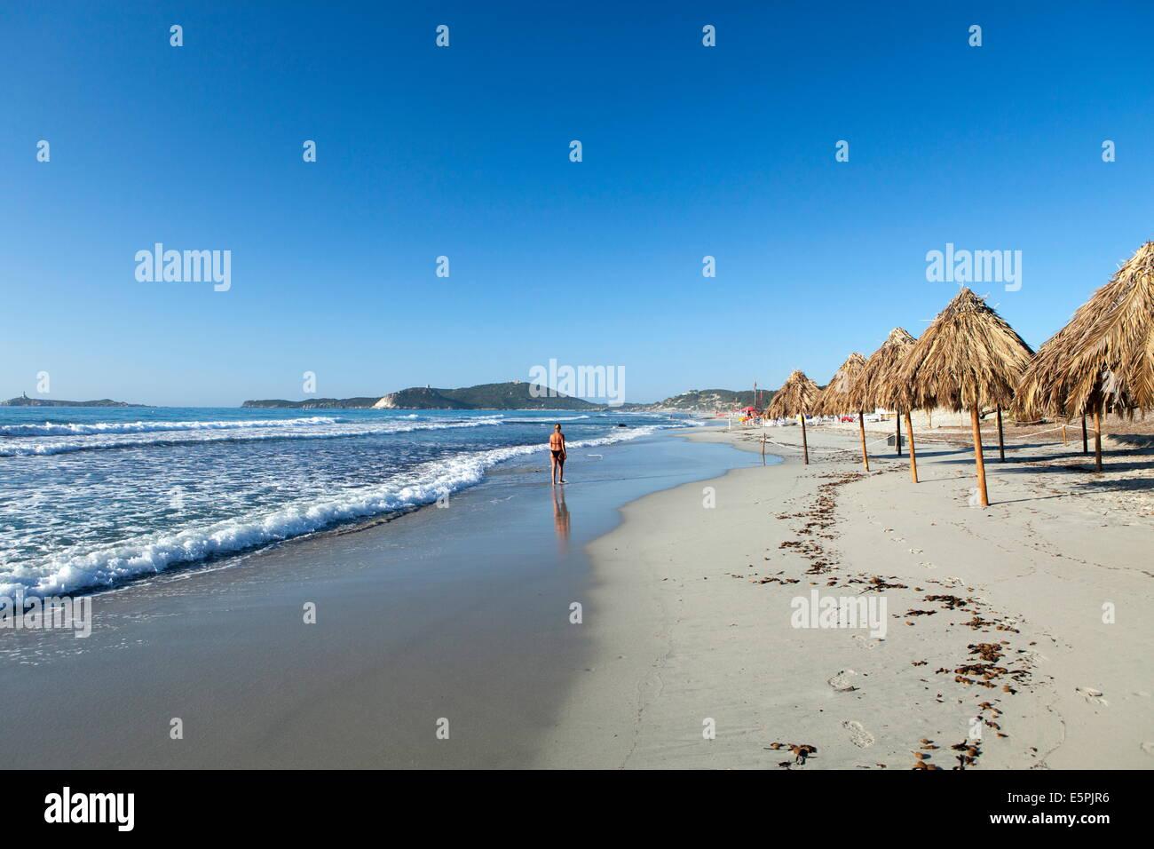 Playa de Villasimius, provincia de Cagliari, Cerdeña, Italia, Mediterráneo, Europa Foto de stock