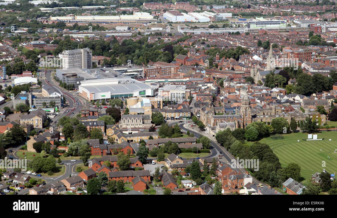 Vista aérea del centro de la ciudad de Rugby Imagen De Stock