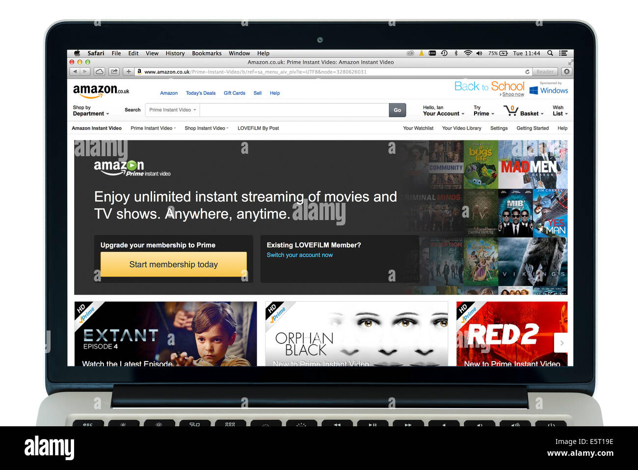 "Amazon Prime Instant Video (anteriormente LoveFilm instantáneo), vistos en una 13"" MacBook Pro de Apple Imagen De Stock"