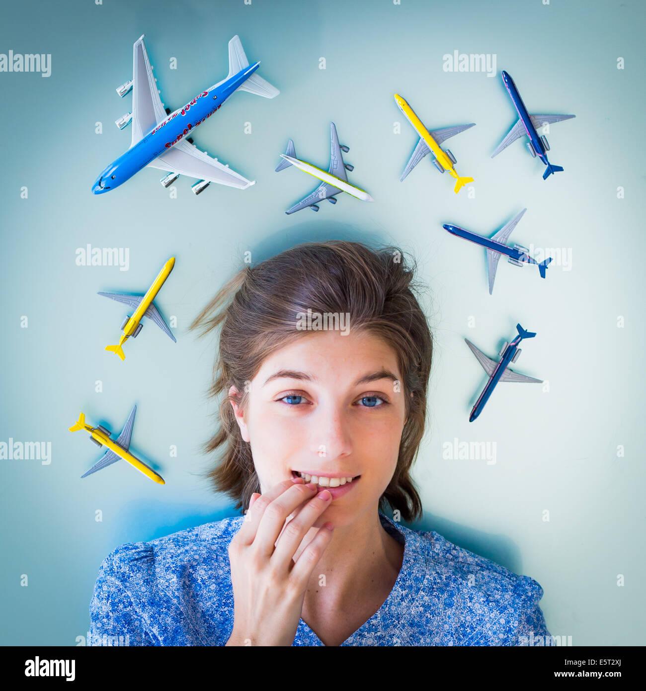 Concepto de miedo a volar. Foto de stock
