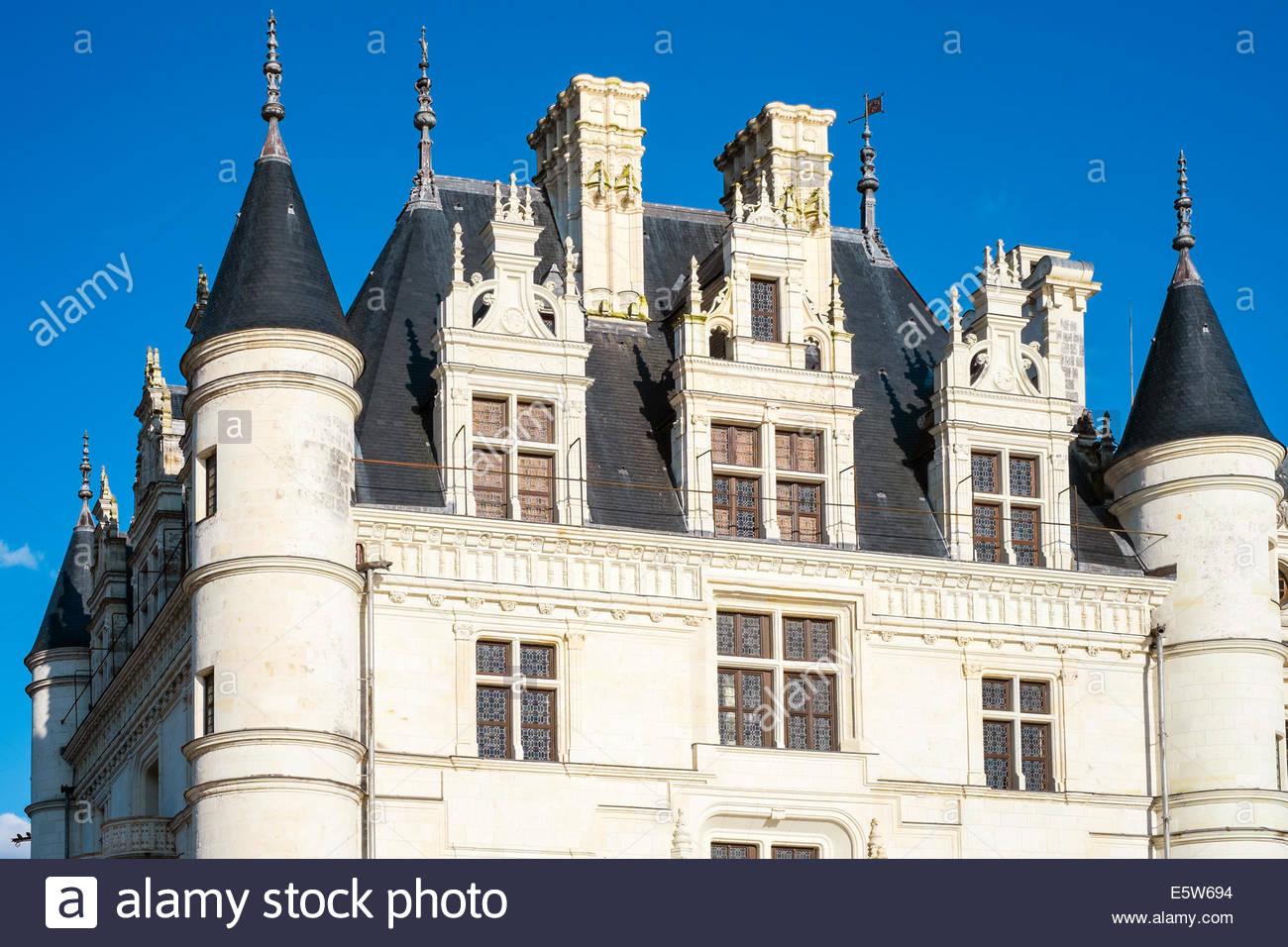 Detalle del castillo Château de Chenonceau, Chenonceaux, Indre-et-Loire, Centro, Francia Imagen De Stock