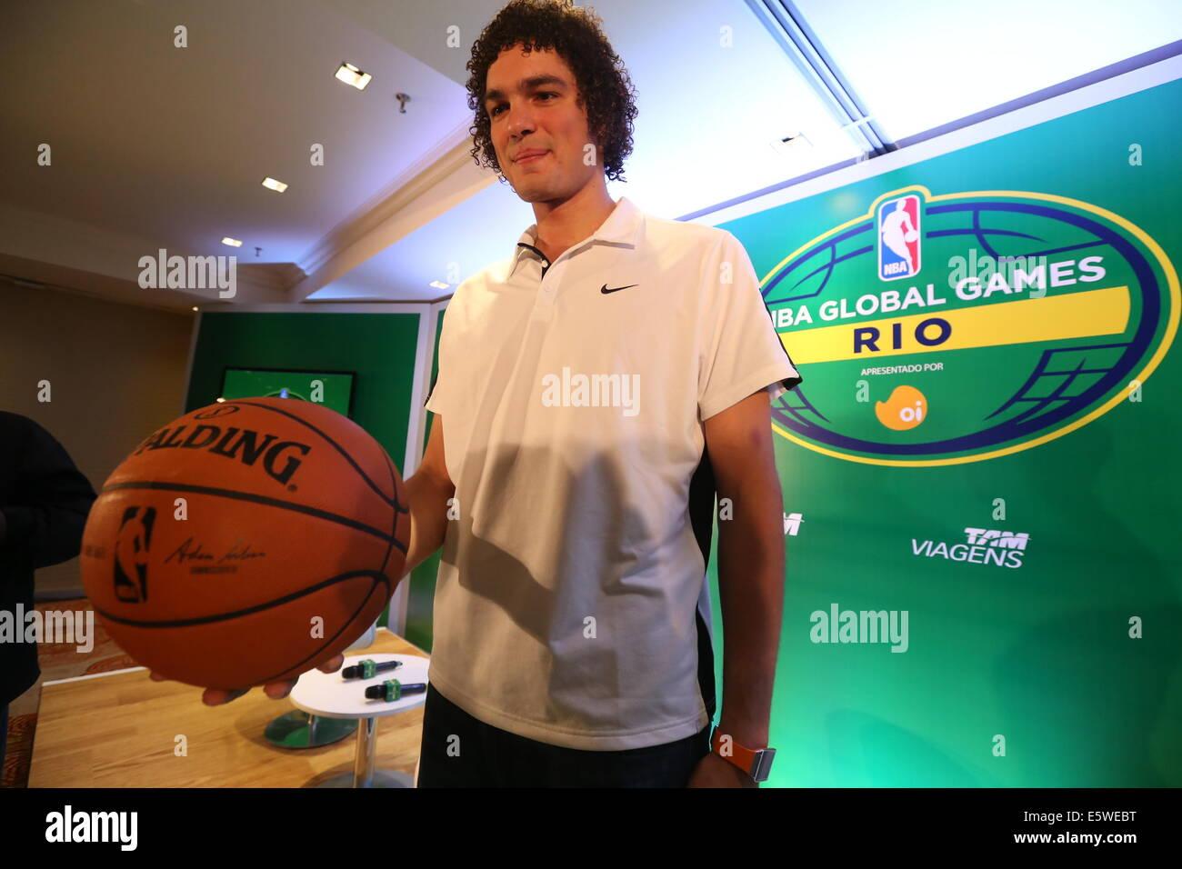 RJ - BASQUETE/NBA/Coletiva - ESPORTES - O jogador brasileiro Anderson Varejão, ala/pivô hacer Cleveland Imagen De Stock