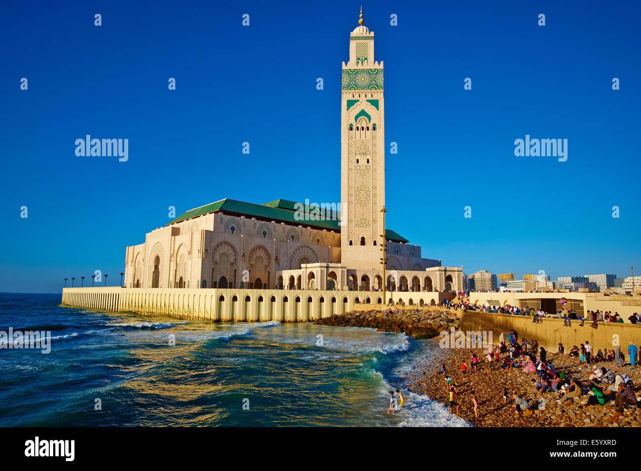Marruecos, Casablanca y mezquita de Hassan II Foto de stock