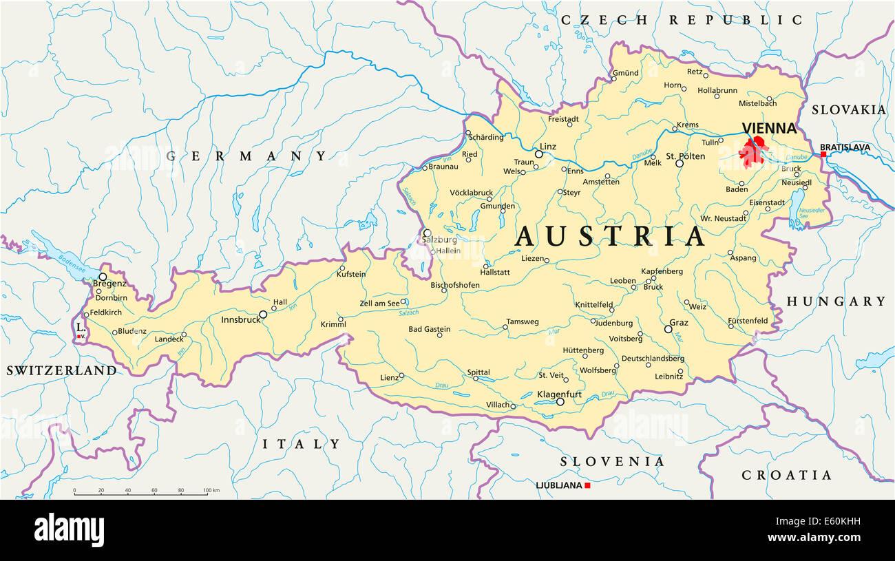 Mapa Politico De Austria.Mapa Politico De Austria Foto Imagen De Stock 72544797
