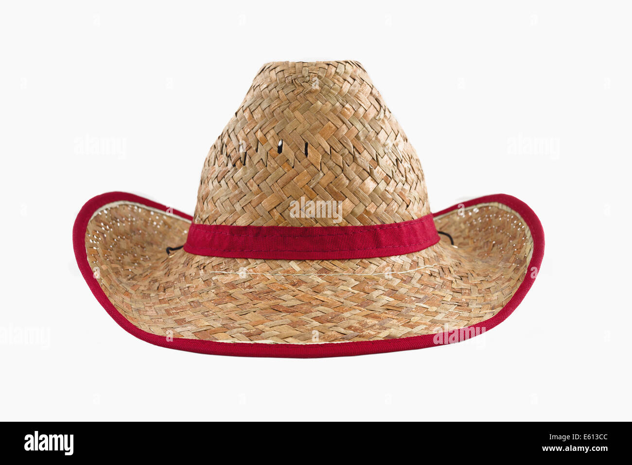 Cowboy americano tradicional sombrero de paja aislado sobre fondo blanco.  Accesorio de agricultor. Imagen f893112ac105