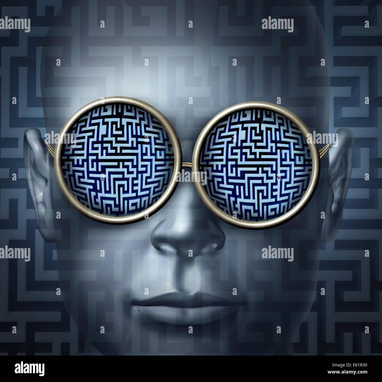 Concepto de negocio soluciones globales como una cabeza humana con gafas con un laberinto o el laberinto como símbolo Imagen De Stock