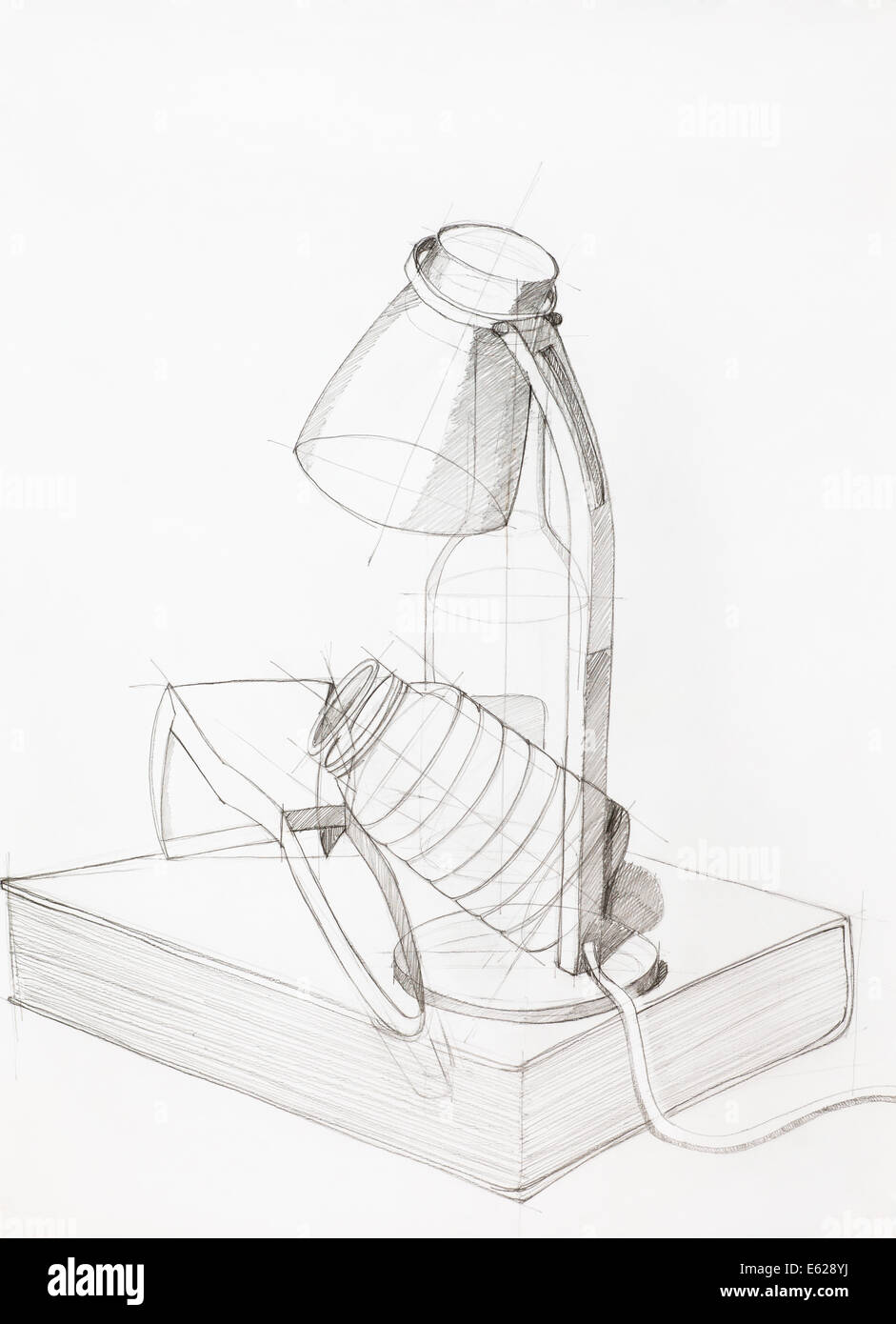 Estudiar composición artística dibujados a mano con objetos Imagen De Stock