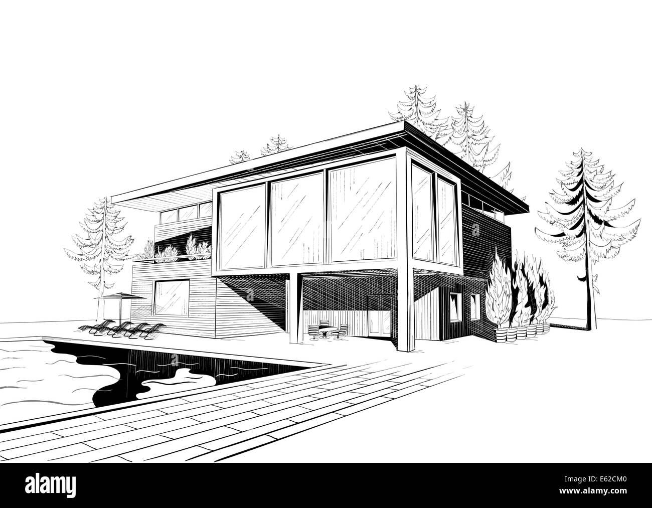 Dibujo En Blanco Y Negro De Suburbana Moderna Casa De Madera Con