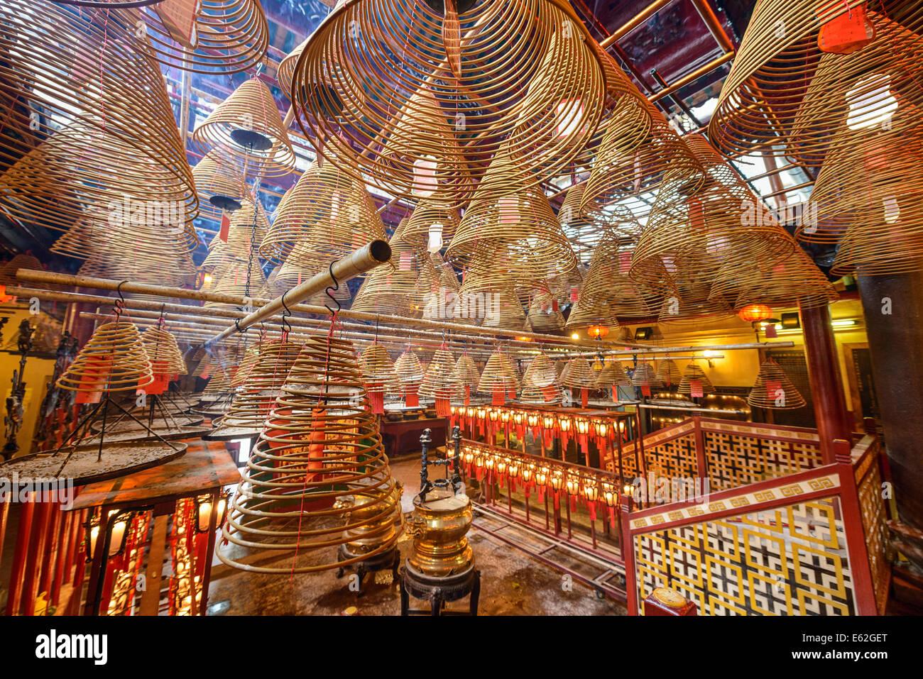 Templo de Man Mo en Hong Kong, China. Imagen De Stock