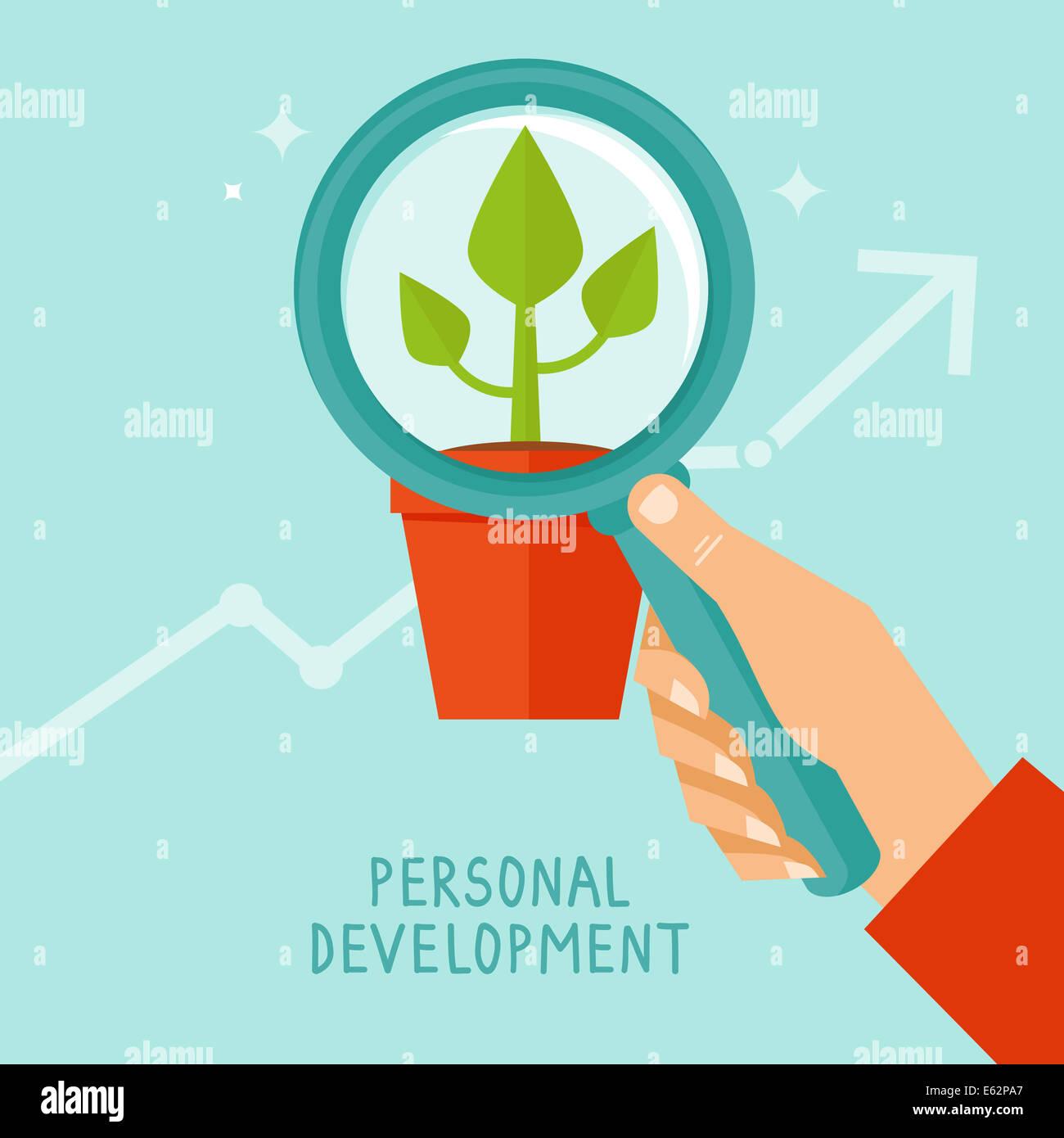Concepto de desarrollo personal en estilo plano - Infografía de iconos y elementos de diseño Imagen De Stock