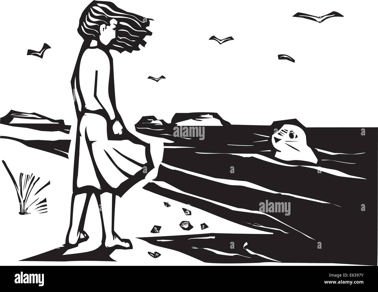 Xilografía estilo imagen de una chica en una playa viendo una junta del puerto en las olas. Ilustración del Vector
