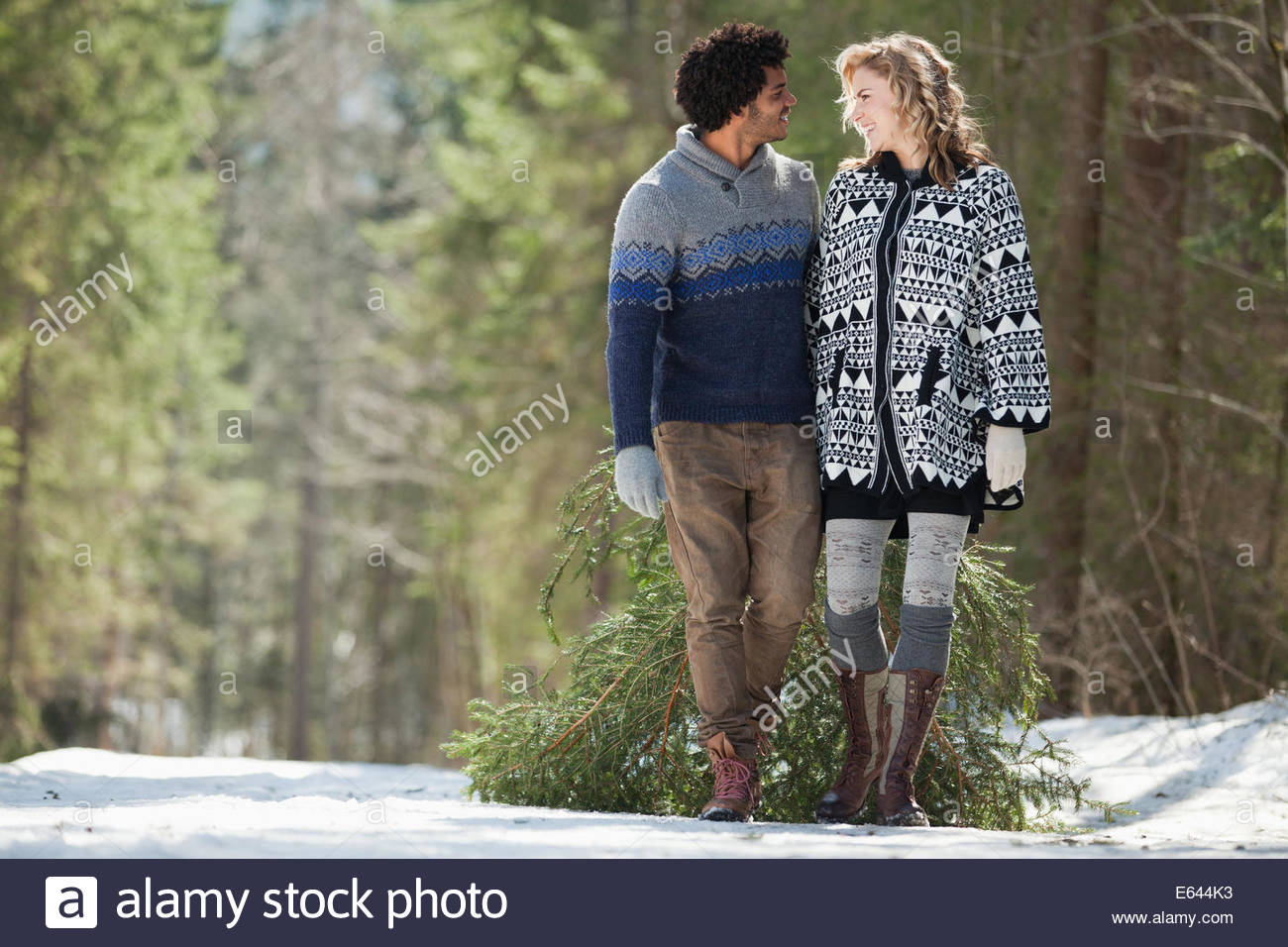 El hombre y la mujer con el árbol de Navidad frescas cortadas Imagen De Stock
