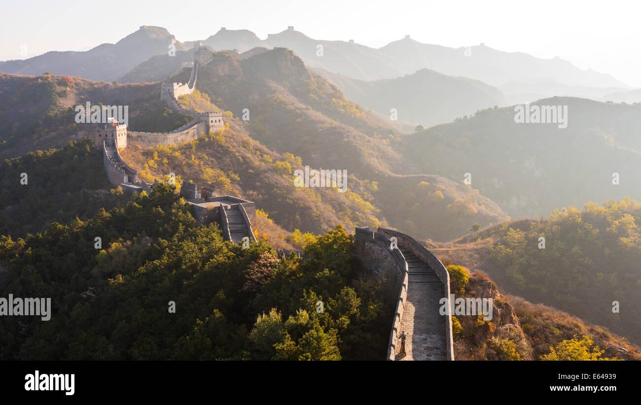 Gran Muralla; tour caminando Jinshanling, Beijing, China Imagen De Stock