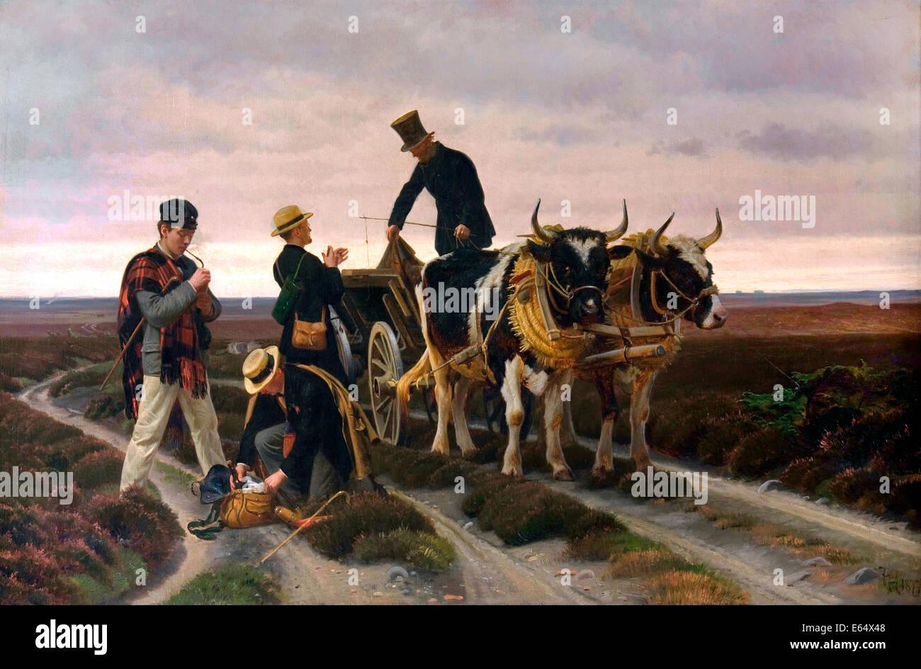 Frants Henningsen, Paseos viaje. De Jutlandia. 1877 Óleo sobre lienzo. La Colección Hirschsprung. Imagen De Stock
