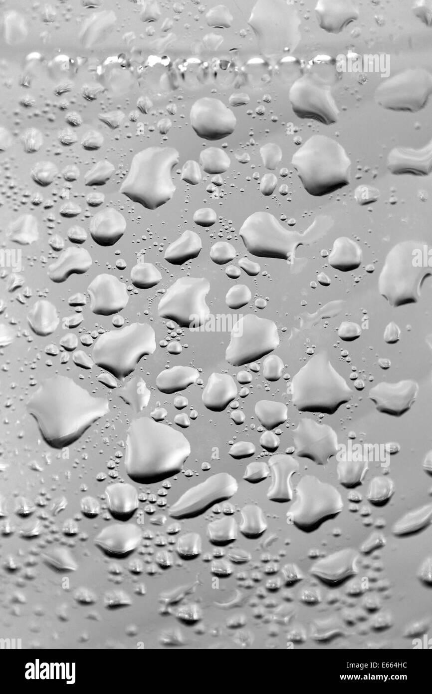 Gotas de agua sobre fondo gris Foto de stock