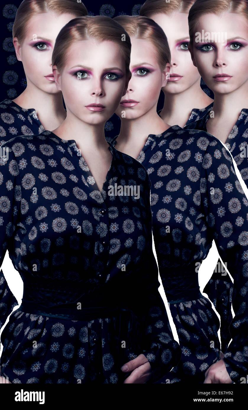 Estilización. Collage. Juego de moda elegante modelo en traje moderno Imagen De Stock