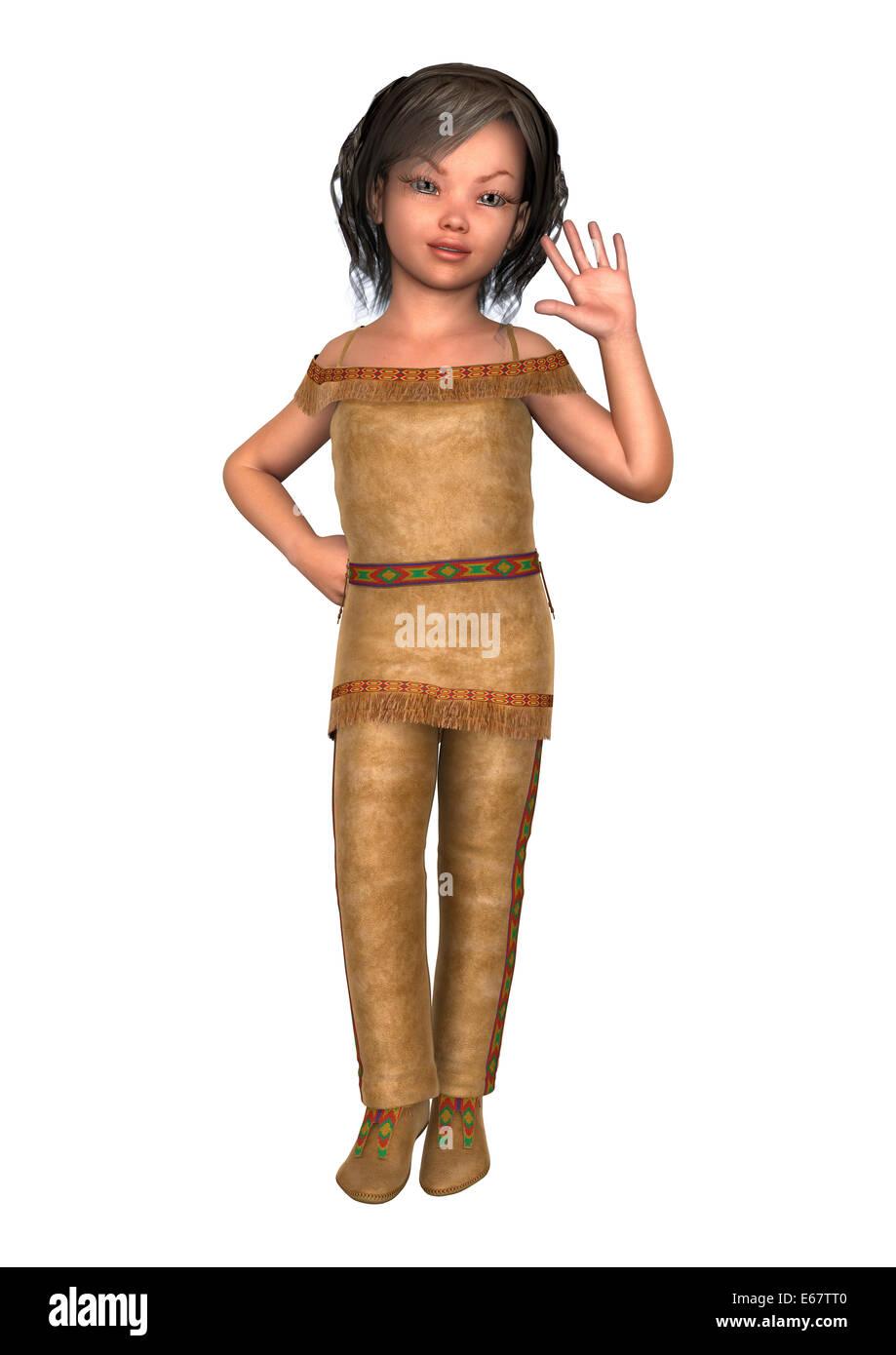 Digital 3D Render de una linda niña en un traje de indiana aislado sobre  fondo blanco. 6af5714b38f