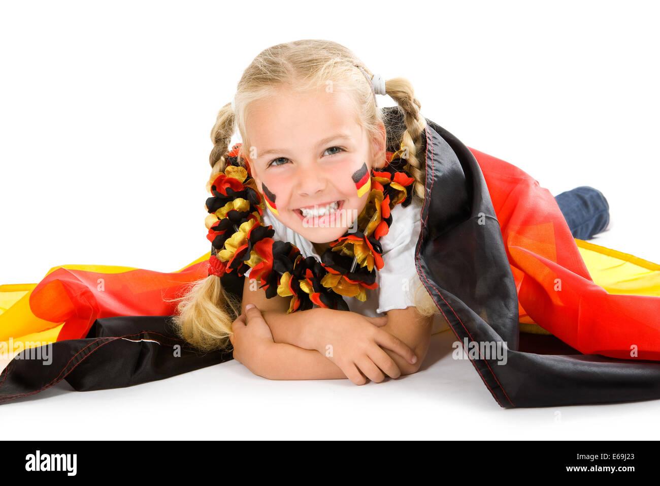 Chica,ventilador,la cultura alemana,patriotismo,hinchas de fútbol Foto de stock