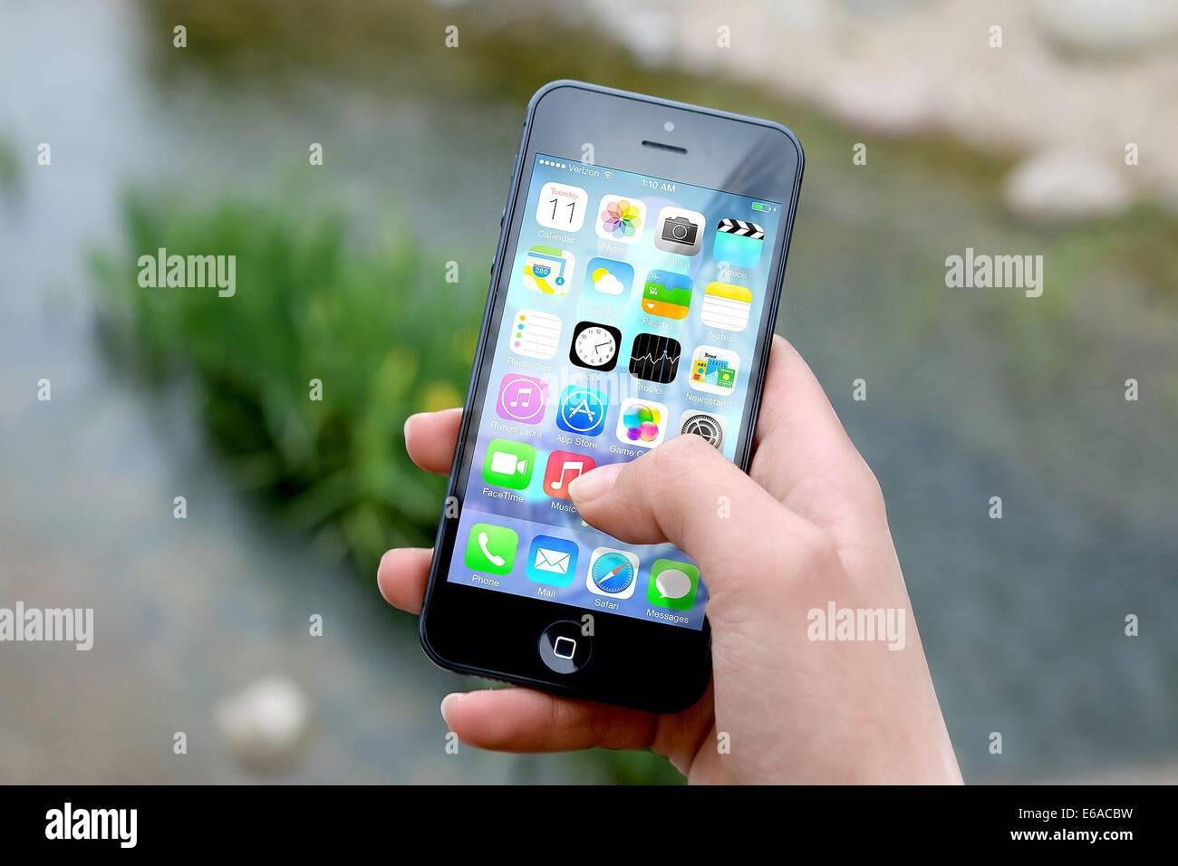 Smartphone iphone apps apple inc teléfono móvil Imagen De Stock