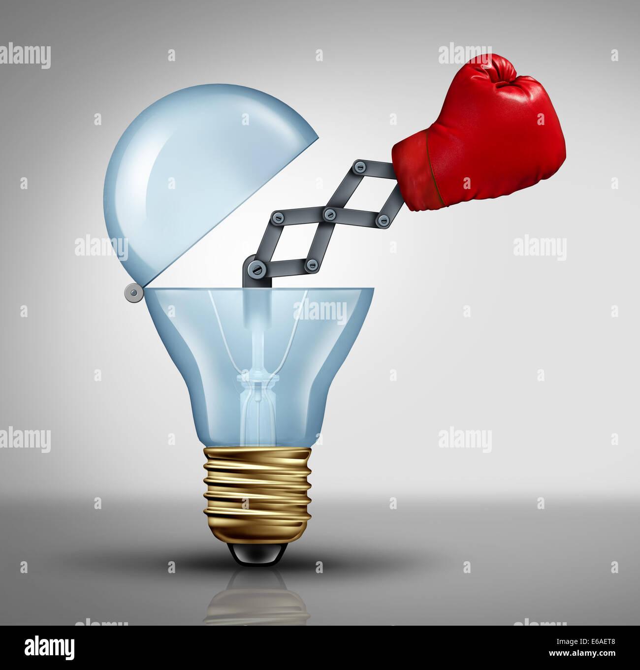 Arma creativa símbolo y concepto de negocio de cambiador de juego para el poder de las ideas y los combates Imagen De Stock