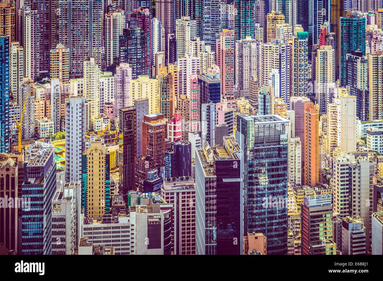 Hong Kong, China financial edificios paisaje urbano. Imagen De Stock