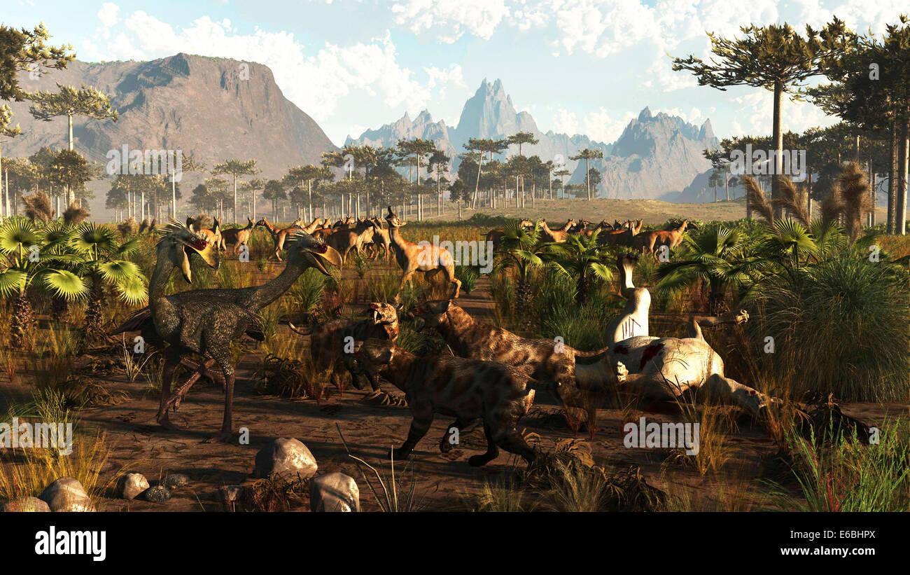 Norte de Argentina unos 2 millones de años atrás. Cuando formó un puente de tierra entre América del Norte y del Sur hubo especies que Foto de stock