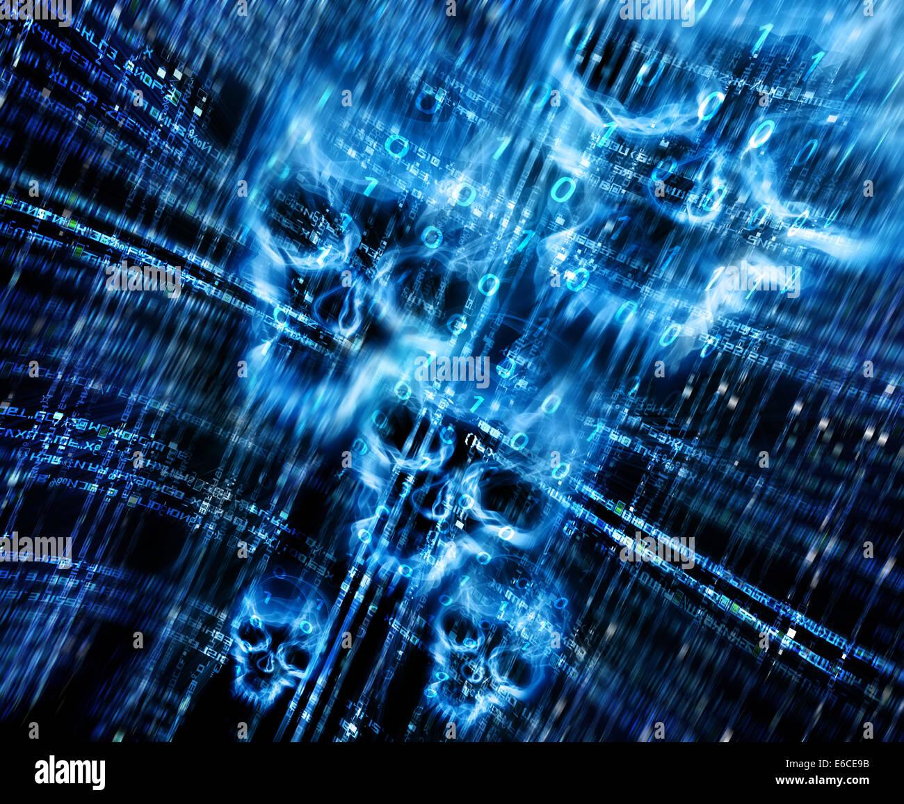 Resumen Antecedentes digital con calaveras Imagen De Stock