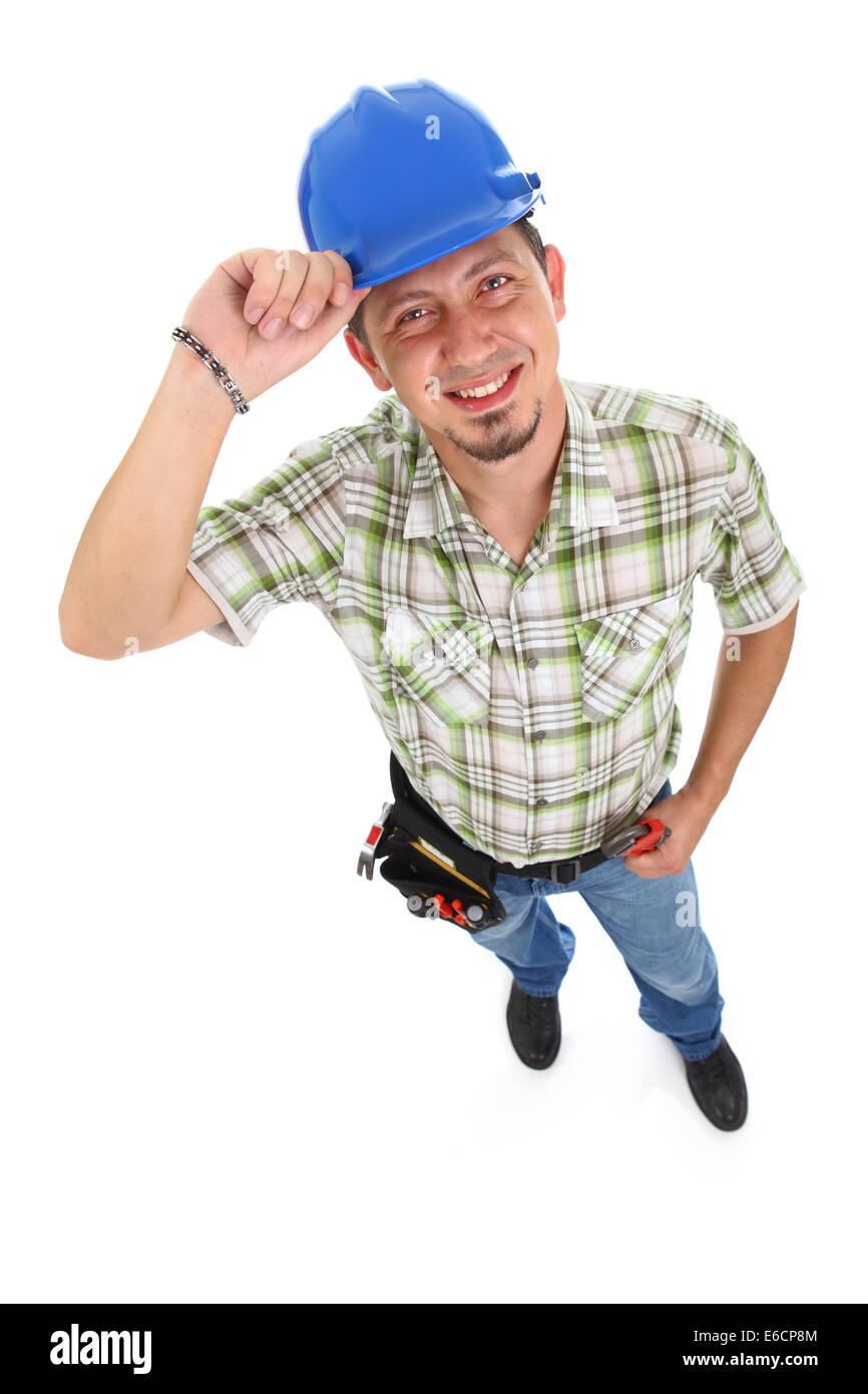 Carpenter llevar cinturón de herramientas Hardhat aislado en blanco. Imagen  De Stock 824890b0fdd3