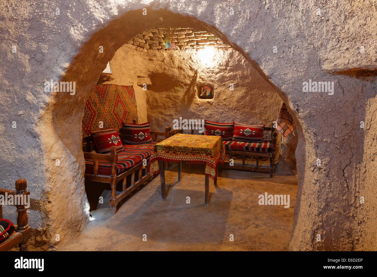 Interior de una casa de barro de Trullo, Harran, provincia de Şanlıurfa, Sureste de la región de Anatolia, Imagen De Stock