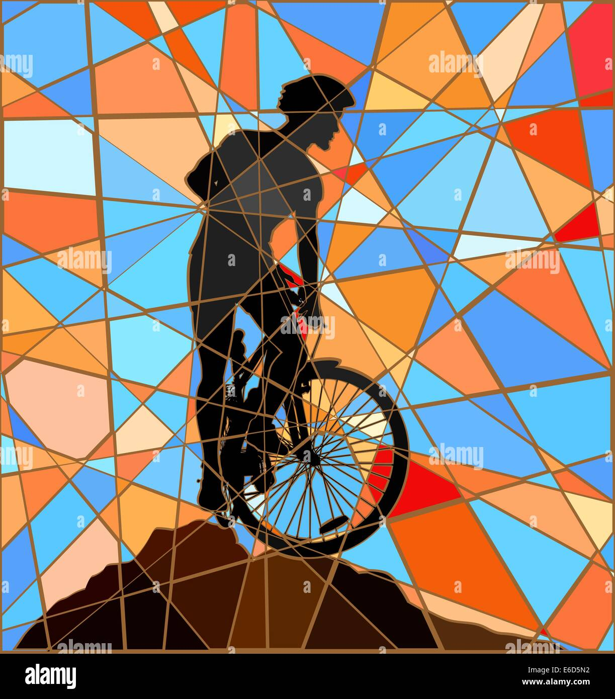 Mosaicos coloridos ilustración vectorial editable de un ciclista de montaña de silueta en una cresta alta Imagen De Stock