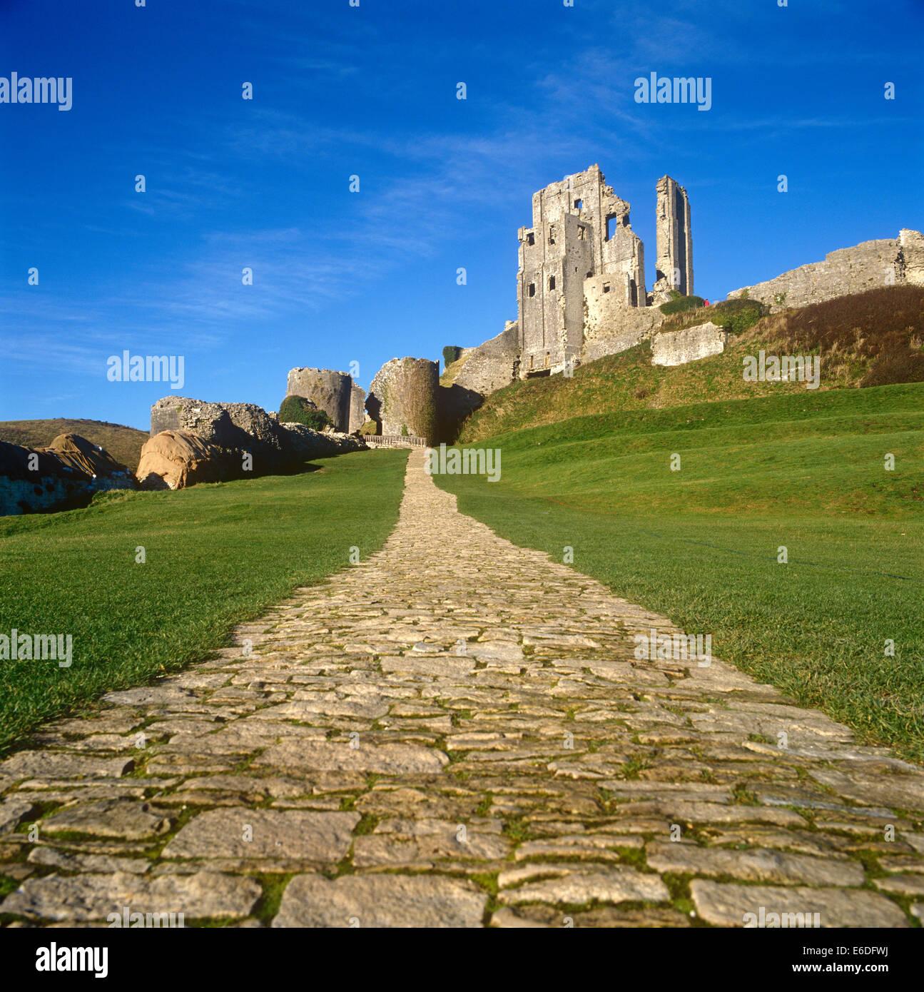 El castillo Corfe Dorset UK Imagen De Stock