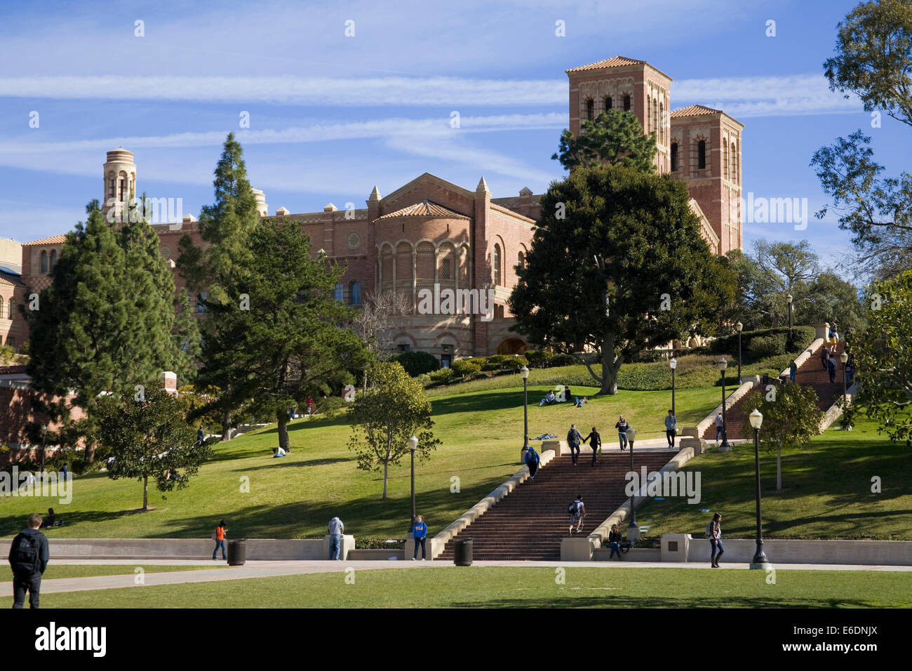 Royce Hall, UCLA, Westwood, en Los Angeles, California, EEUU. Foto de stock