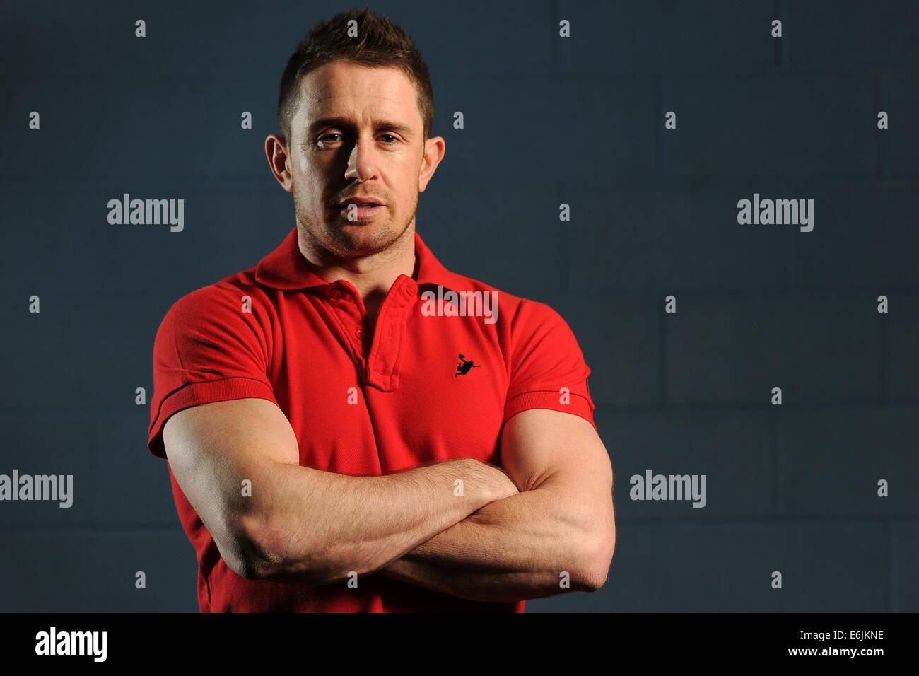 El ex jugador de Rugby de la selección de Gales Shane Williams. Imagen De Stock