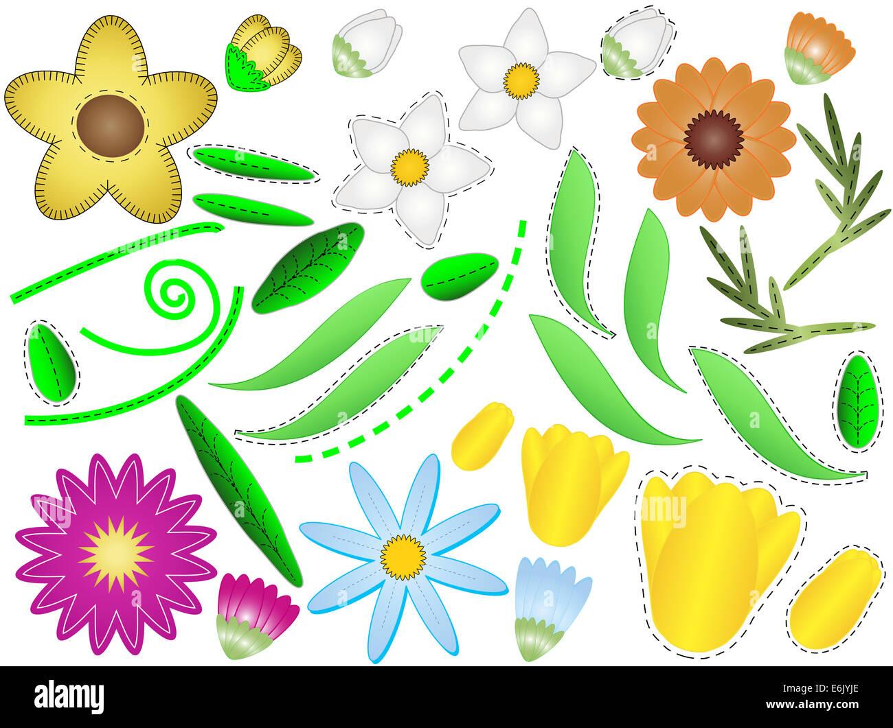 Jpg Diversas Flores Sencillas Brotes Y Hojas Con Quilting Puntadas