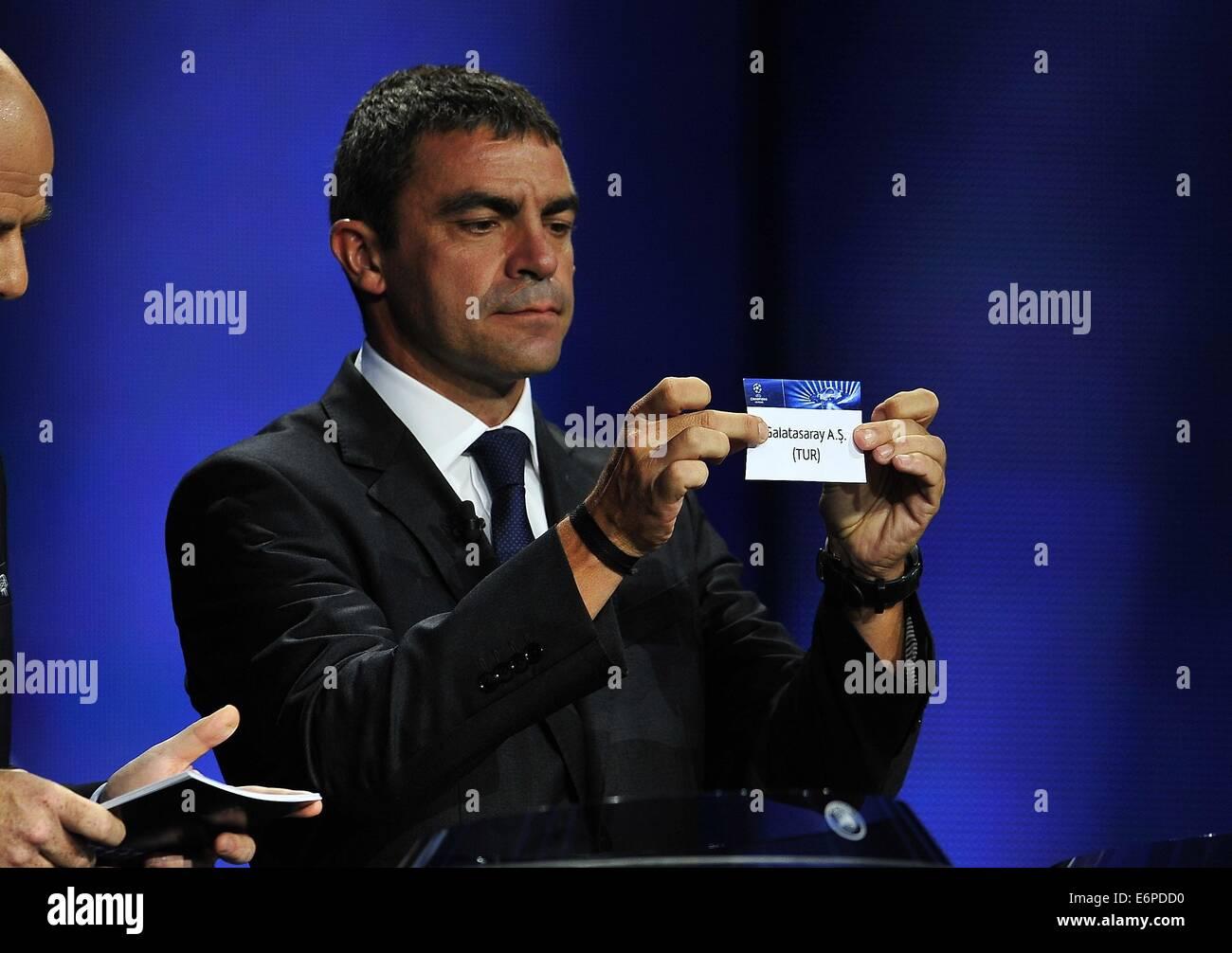 Monte Carlo, Monaco. 28 Aug, 2014. Real Madrid CF, ex futbolista Manuel Sanchís tomando como el Galatasaray, Imagen De Stock