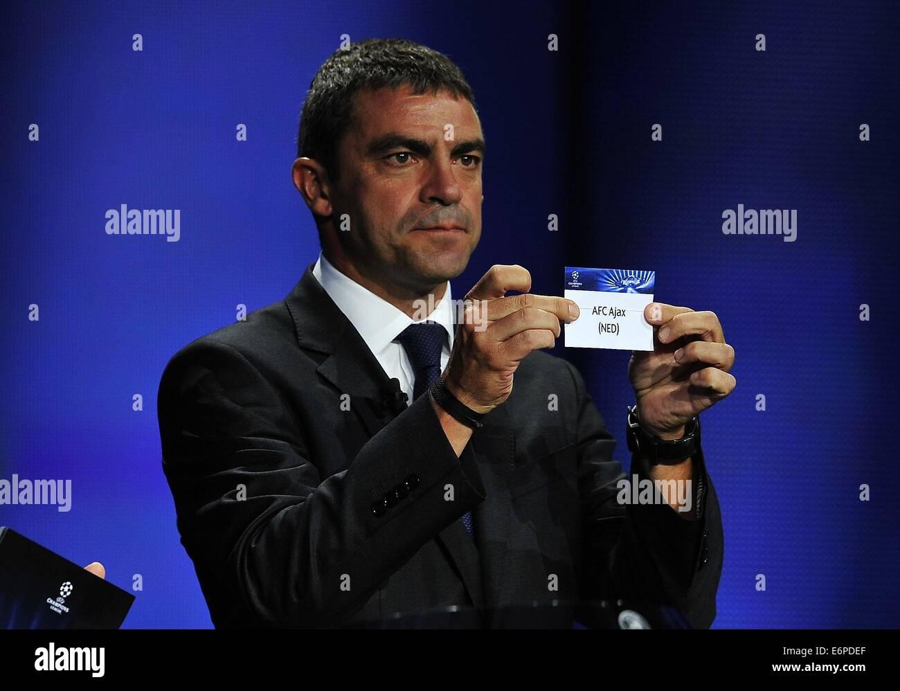 Monte Carlo, Monaco. 28 Aug, 2014. Real Madrid CF, ex futbolista Manuel Sanchís teniendo AFC Ajax, Grupo F Imagen De Stock