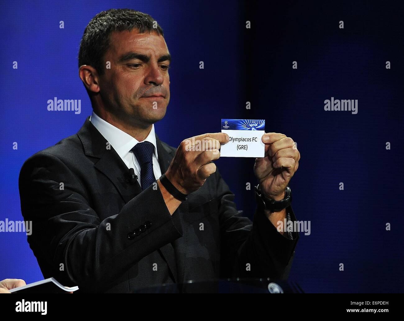 Monte Carlo, Monaco. 28 Aug, 2014. Real Madrid CF, ex futbolista Manuel Sanchís teniendo Olympiacos FC, un Imagen De Stock