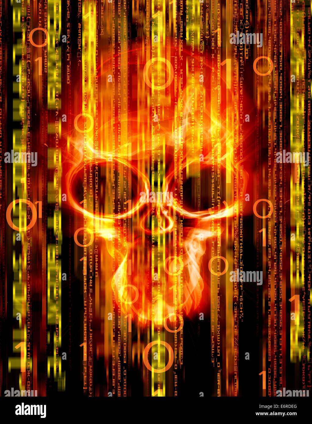 Resumen Antecedentes digital con craneo Imagen De Stock